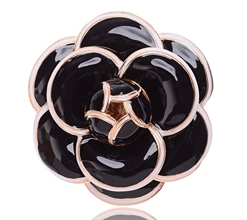 MISASHA Fashion Jewelry Bridal and Chic Black Enamel Camellia Brooch Pin For - And Chanel Glasses White Black