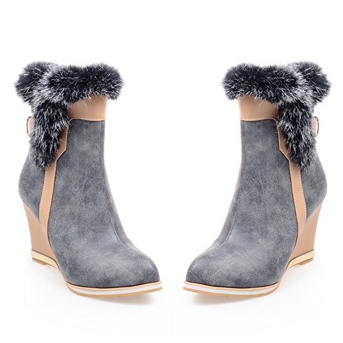 Fashion Women Boots Gray Wedges RAZAMAZA Zipper YFwqd5