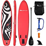 Goplus Inflatable Stand up Paddle Board Surfboard SUP Board with Adjustable Paddle Carry Bag Manual Pump Repair Kit Removable Fin for All Skill Levels, 6' Thick (Red, 10')