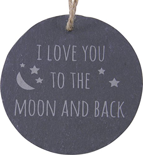 CustomGiftsNow I Love You to The Moon and Back 3.25-inch Circle Slate Hanging Christmas Tree Ornament with String
