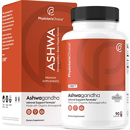 Ashwagandha 1950mg Organic Ashwagandha Root Powder with Black Pepper Extract, Stress Relief, Mood Support, 90 Veggie…