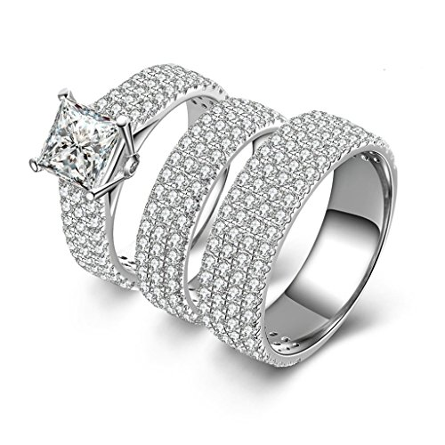 Epinki Women Rings, 925 Sterling Silver Ring Promise Ring Square Cubic Zirconia Threefach-Rings Size 5.5 by Epinki