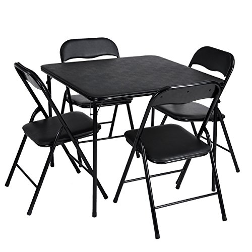 5PCS Dining Table Set for 4 Person Table and Chairs Dining Dinette in Living Room Kitchen Patio, Simple Style, Folding Chairs, Black