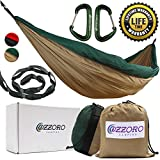 Double Hammock With Tree Straps – XL Camping Hammock Lightweight Portable Heavy Duty Two Person Parachute Nylon Hammock For Backpacking Outdoor Camp (Khaki/Dark Green)