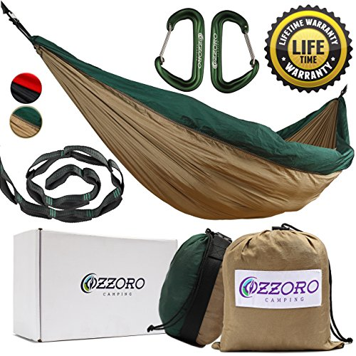 Double Hammock With Tree Straps – XL Camping Hammock, Lightweight Portable Heavy Duty Two Person Parachute Nylon Hammock For Backpacking, Outdoor, Camp (Khaki /Dark Green) (Aluminum Triple Tree)