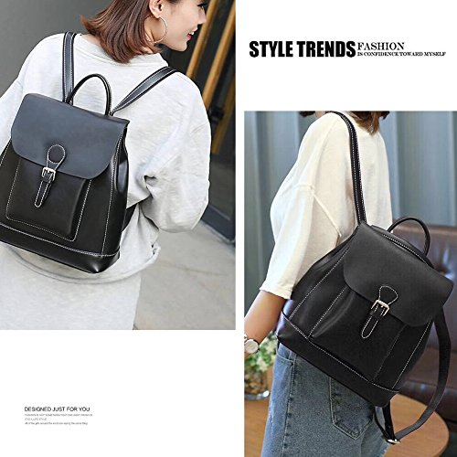 Bookbag Pure Color School Military Elegant Purse Casual Women Leather Backpack Yoome Green Classic BXwpxpv