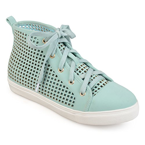 Journee Collection Womens Laser-Cut High-Top Sneakers Mint, 8 Regular US