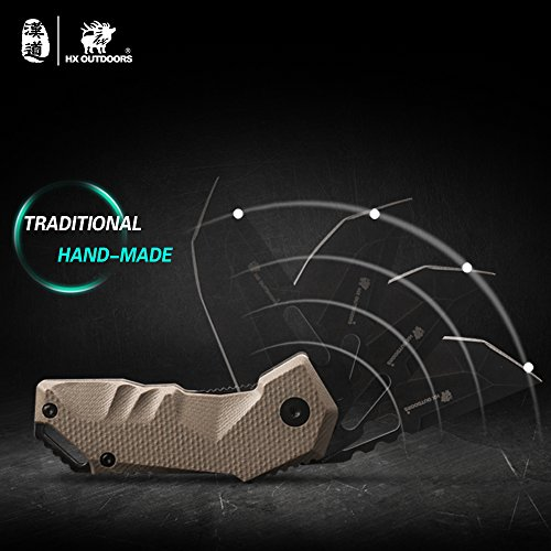 HX outdoors - Folding Knife 8Cr14MoV Steel and G10 Ergonomic Anti-Slip Handle Survival Tactical Knives EDC Camping Tools by HX outdoors (Image #7)