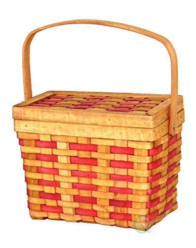 Vintiquewise(TM) QI003047 Chipwood Picnic Rectangle Basket with Burgundy Stripes - Lunch Basket