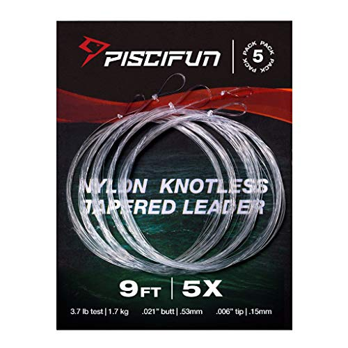 Piscifun Fly Fishing Tapered Leader with Loop-9ft 5 Pack 5X