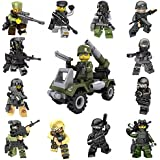 12+1 Army Minifigures Building Bricks Soldier with Military Weapons Accessories Vehicle Toys Set Army Men Mini Figures People Building Blocks Compatible