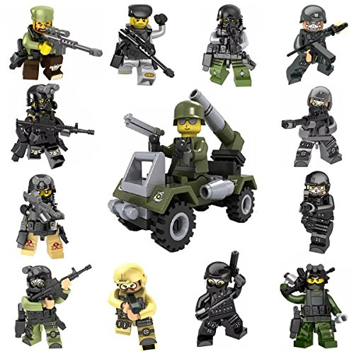 Sanyu 12+1 Army Mini Figures Building Bricks Soldier with Military Weapons Accessories Vehicle Toys Set