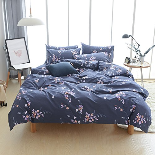 Adyonline 100%Cotton Floral Duvet Cover Sets for Womens Girls with Zipper 3 Pcs Home Bedding Collection Queen Size (Womens Duvet)