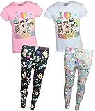 Sweet & Sassy Girls' Pajama Top with Legging Pants (2 Pack), Sleepovers, Size 7-8'