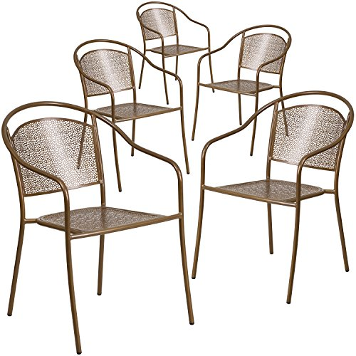 Flash Furniture 5 Pk. Gold Indoor-Outdoor Steel Patio Arm Chair with Round Back - Stacking Outdoor Patio Chair