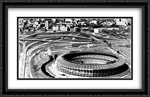 Atlanta Stadium Fulton (Atlanta-Fulton County Stadium 2X Matted 40x26 Large Black Ornate Framed Art Print from The Stadium Series)