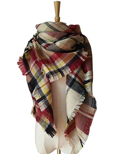 AUSELILY Women's Stylish Warm Tassels Soft Plaid Tartan Scarf Blanket Wrap Shawl