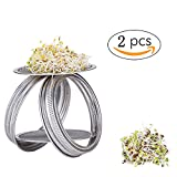 #5: Stainless Steel Sprouting Jar Lid Kit for Wide Mouth Mason Jars - Never Rust Durable Strainer Screen Lids for Canning Jars