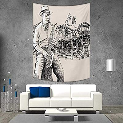 smallbeefly Jazz Music Tapestry Wall Hanging 3D Printing Art Jazz Saxophonist Playing at River Bank Palm Trees Bungalow Reflection Beach Throw Blanket 40W x 60L INCH Beige Black