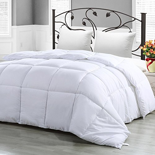Mezzati Comforter Duvet Cover Insert - Goose Down Alternative with Box Stitching Design - Soft and Lightweight Hypoallergenic Bedding (King/Cal King, White)