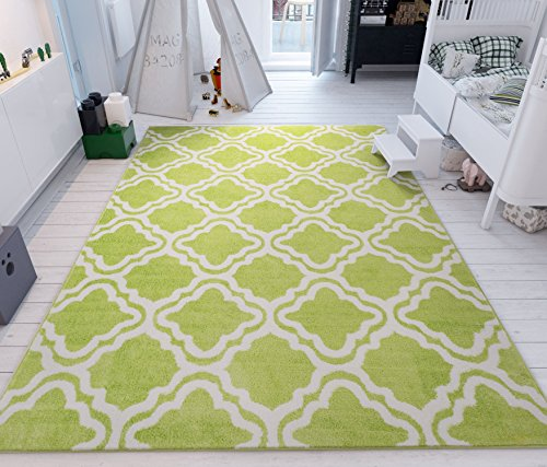 - Modern Rug Calipso Green 5'X7' Lattice Trellis Accent Area Rug Entry Way Bright Kids Room Kitchn Bedroom Carpet Bathroom Soft Durable Area Rug