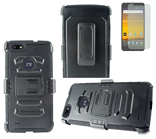 Tempered Glass+2Layer Rugged Rubber Case Cover w/Holster Belt Clip for ZTE Blade Force TD-LTE / Blade X LTE / Warp 8 Phone (Black on Black)
