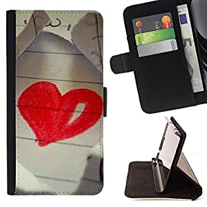 For HTC DESIRE 816 Case , Amor Dibujo Corazón- la tarjeta de Crédito Slots PU Funda de cuero Monedero caso cubierta de piel