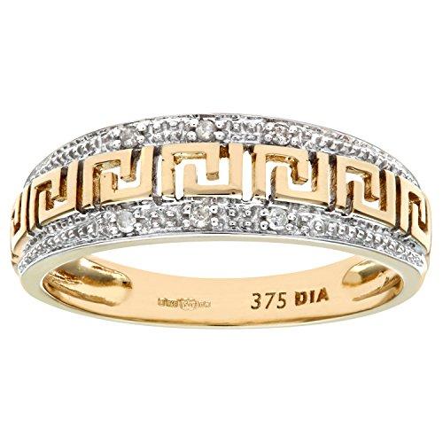 Bague Femme - Or jaune (9 carats) 2.4 Gr - Diamant 0.03 Cts