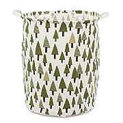 Homele 19.7  Large Laundry Hamper Bucket Waterproof Coating Cotton Laundry Basket Collapsible Washing Basket Canvas Storage Basket Bin Home Nursery Toy Organizer (Tree)