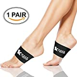 Copper Compression Copper Arch Support,2 Plantar Fasciitis Braces/Sleeves. Stop Pain in Feet, Heel Spurs and Flat Arches(1 Pair Black - One Size Fits All)