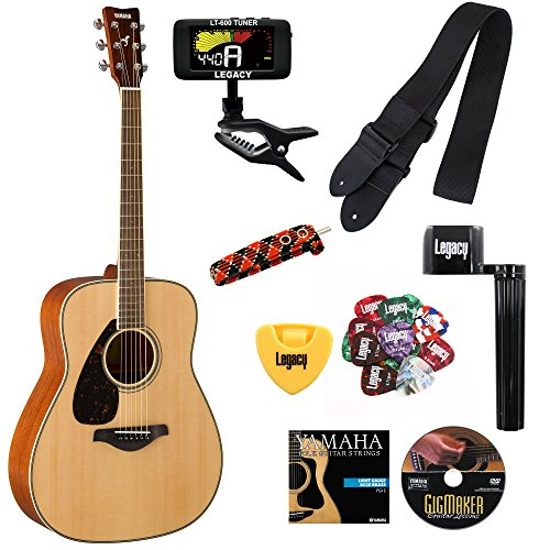 Yamaha FG820 Folk Guitar, Left-handed, Solid Top, Mahogany Back and Sides, with Legacy Accessory Bundle, Many Choices