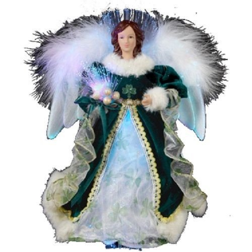 Kurt Adler 12-Inch Fiber Optic Irish Angel Treetop (Irish Angel Ornament)