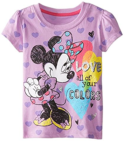 Disney Little Girls' Minnie Mouse Love Colors Short Sleeve T-Shirt, Lovely Purple, 3T - Toddler Purple Character T-shirt