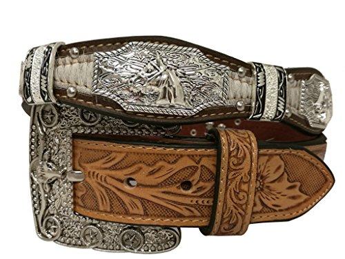 [New Mens Western Cowboy Cowgirl Silver Longhorn Horse Texas Star Concho Shiny Cowhair Leather Belt] (New Western Rhinestone Concho)