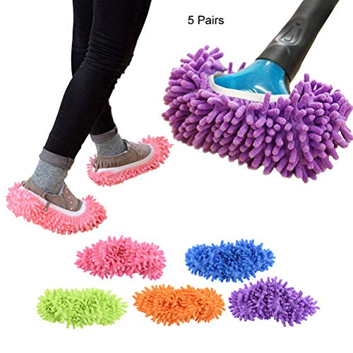 5 Pairs/10 pcs Washable Dust Mop Slippers Shoes Cover Soft Washable Reusable Microfiber Cleaning Mop Slippers Floor Dust Hair Cleaners Multi-Function Cleaning Shows Cover
