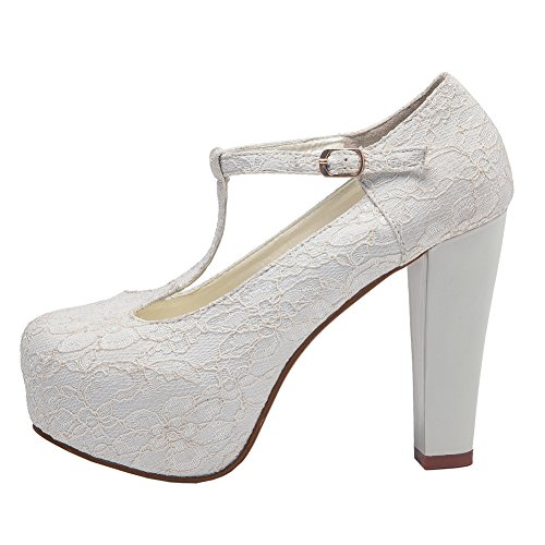 getmorebeauty Women White Block Mary Janes T-Strappy Lace Dress Wedding Shoes 7.5 B(M) US ()