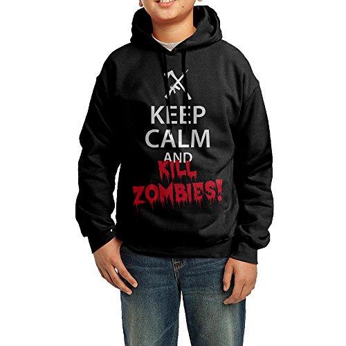 Keep Calm And KILL ZOMBIES! Big Boy/Girl's Hoodies Black