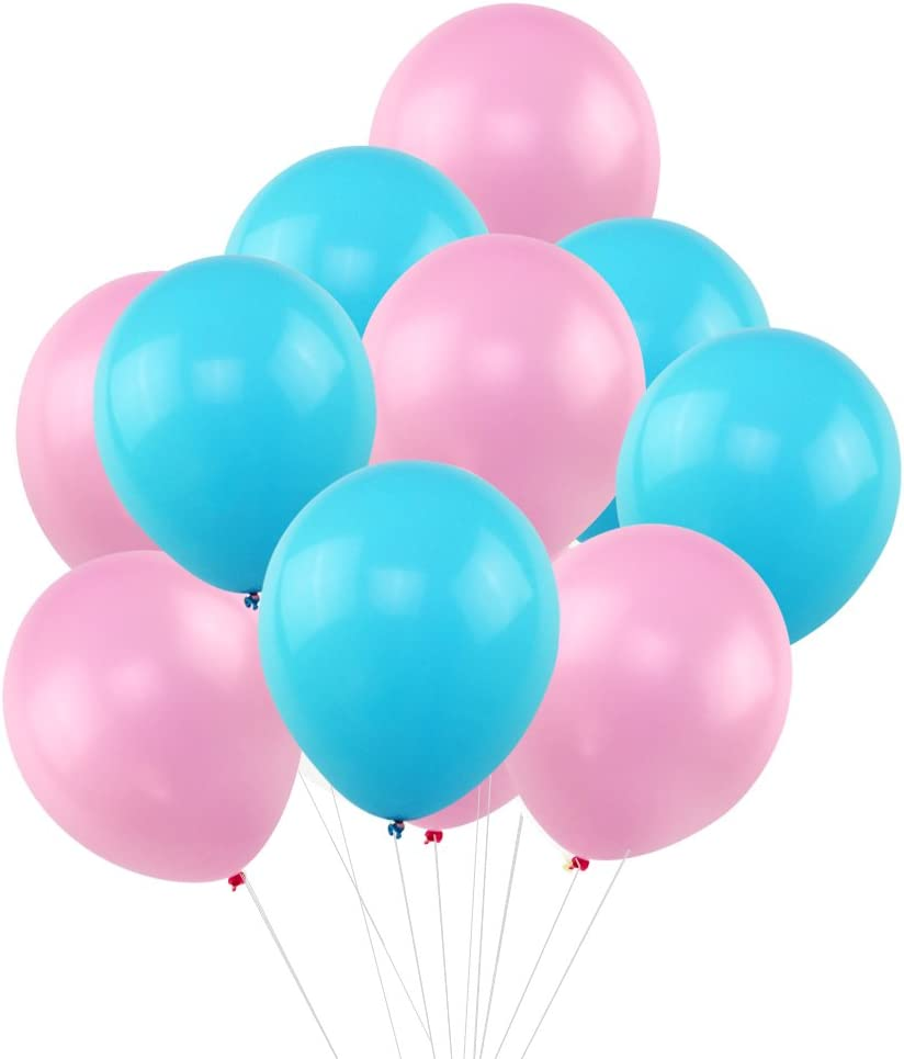 "KUMEED Pink Sky Blue Balloons 12"" Latex Balloons Vivid Bright Color Balloon Globos Party Birthday Wedding Balloons Pack of 100"