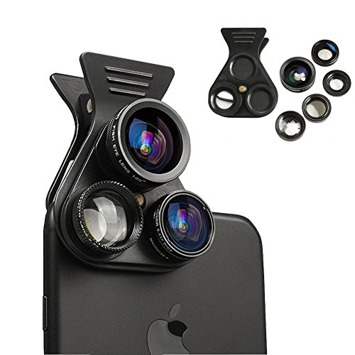 Cell Phone Camera Lens - BTIME 5 in 1 Professional HD Camera Lens Kit 2.5X Telephoto Lens +180° Fisheye + 0.62X Wide Angle + 15X Macro Lens +CPL Polarized Lens