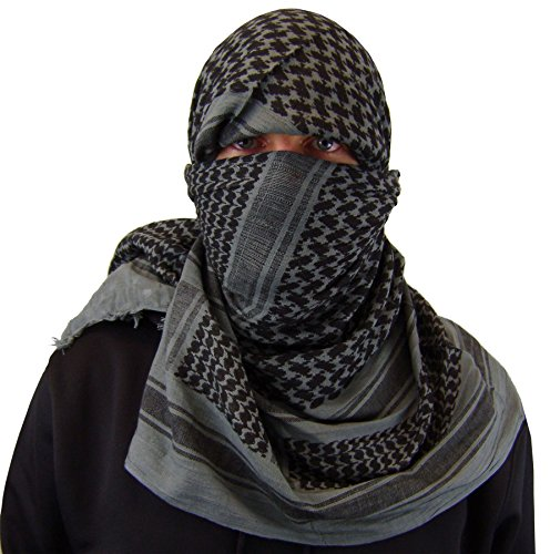 Maddog Sports Shemagh Tactical Desert Scarf - Grey / Black