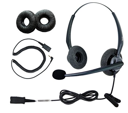 DailyHeadset 2.5 mm Duo Noise Cancelling Headset Over Ear Headphones For Corded Cordless VoIP IP Office Landline Home Telephone
