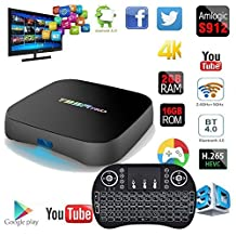 MaQue Android TV Box T95R Pro Android 6.0 TV Box Amlogic S912 Octa Core 2GB/16GB 4K HD Dual-band WiFi Bluetooth Set Top Box with I8 Backlit Wireless Keyboard