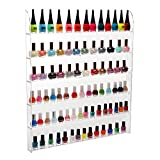 MyGift (102 Bottles) 6 Shelf Pro Clear Acrylic Nail Polish Rack/Salon Wall Mounted Organizer Display