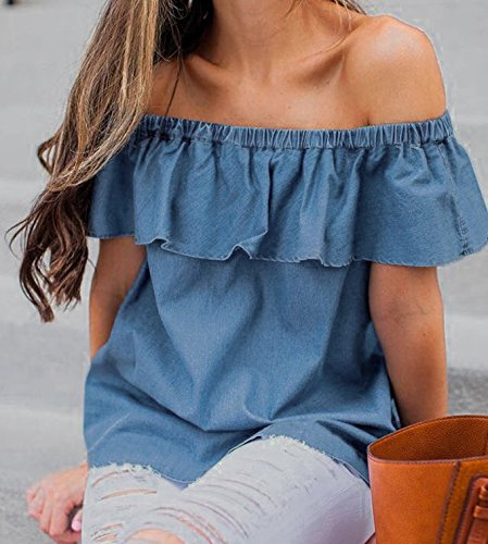 7fb829654c0 Women Lady Sexy Off Shoulder Casual Slim Ruffle Denim Blouse Tops at Amazon  Women s Clothing store