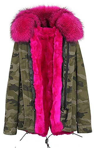 S.ROMZA Women Thick Real Rabbit Fur Parka Hooded Coat Winter Jacket Detachable Fur Trim (US12, Camouflage&Red)