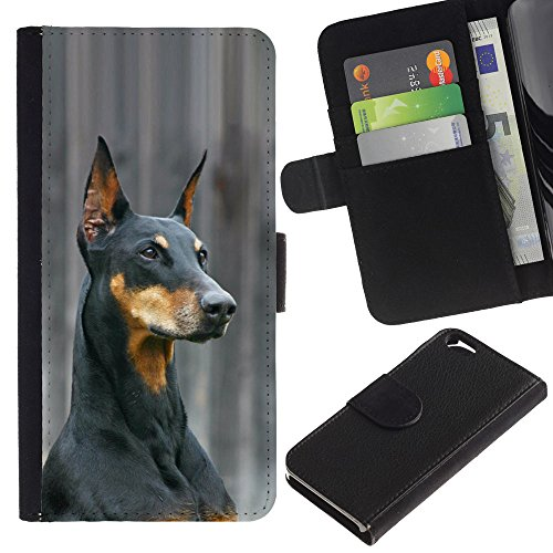 EuroCase - Apple Iphone 6 4.7 - German pinscher Doberman dog black - Cuir PU Coverture Shell Armure Coque Coq Cas Etui Housse Case Cover