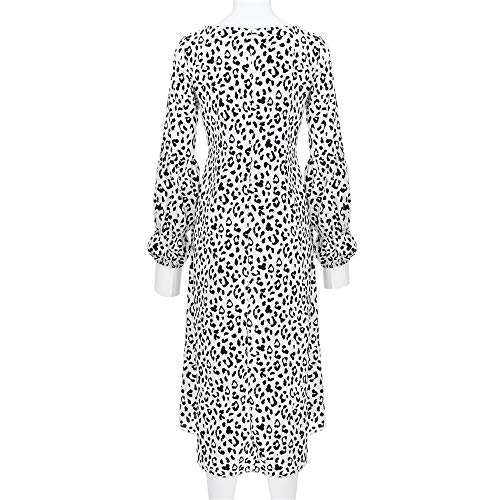 Leopardo Camicette Stampate Donne Delle Dell'emblema Pianura Asimmetriche Bianca Della Camicetta Maniche Magliette Del Daoope Lanterna qAEwg8Px