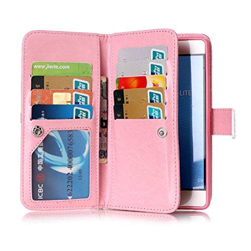 Funda de poliuretano para Huawei P9Lite, de piel, para Huawei P9Lite, funda de tipo libro con tarjetero, función atril + conector anti-polvo rosa 6 5
