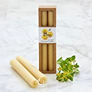 8 Inch Hand-Rolled Beeswax Taper Candles - Little Bee of Connecticut (Single Pair)