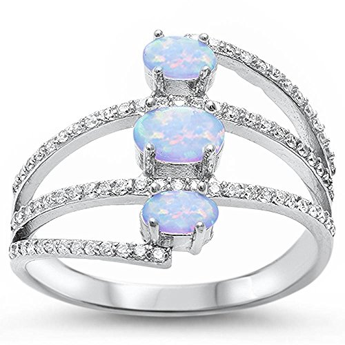 Beautiful Oval Lab Created White Opal & Cubic Zirconia .925 Sterling Silver Ring Size 6 by Oxford Diamond Co